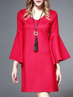 Red Bell Sleeve Elegant Solid V Neck Mini Dress