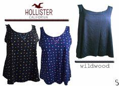 Lots Women Hollister Black Blue Print Floral WildWood Blue Sleevless Tops Blouse #wildwoodHollister