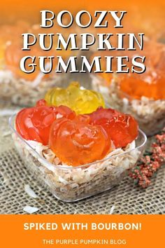 Boozy Pumpkin Gummies made with your favorite booze, pumpkin-shaped candy, and served on toasted coconut nests are a fun adults-only treat to serve at your Halloween party! These Halloween sweets are not the ones you remember from your childhood!! #ThePurplePumpkinBlog #HalloweenTreats Halloween Party Drinks, Halloween Sweets, Purple Pumpkin, Dessert Recipes For Kids, Rice Crispy Treats, Great Appetizers, Toasted Coconut, Nests, Savoury Dishes