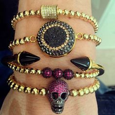 Set By Vila Veloni Dark Pink Modern Skull and Black Spike Cuff