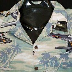 RJC Kalaheo XL Button Front Shirt WW2 Bomber Planes Palm Trees Coconut Buttons #RJCLTDKalaheo #ButtonFront