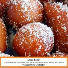 "Traditional Cape Malay sweet treat (variation from the South African ""Koeksister"") South African Desserts, South African Recipes, Delicious Desserts, Dessert Recipes, Yummy Food, Dessert Sauces, Frosting Recipes, Cupcake Recipes, Bollas Recipe"