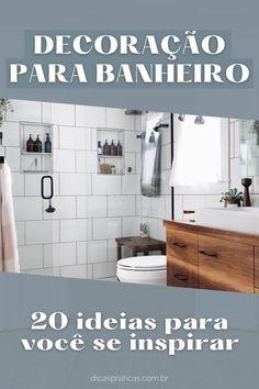 Que tal ver decorações de banheiro pequeno para a sua casa? Você poderá ver várias inspirações de banheiros decorados e projetos que certamente vão te encantar e te dar várias ideias nesse sentido. Bathroom Hooks, Diy, Creative Decor, Bathrooms, Decorating Ideas, Log Projects, Home, Bricolage, Do It Yourself