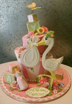 The Most Adorable Baby Shower Cake #stork