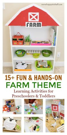 Fun and hands-on FARM theme learning activities and shelf for toddlers and preschoolers.