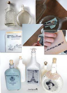 Image Transfer Recycled Glass Bottle Tutorial @savedbyloves Winebottlecrafts