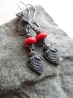 How Sweet It Is ... Pewter Strawberry Lampwork and by juliethelen