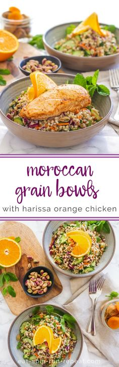 Try this #GlutenFree Moroccan Grain Bowls with Harissa Orange Chicken for your next meal! #newyear #wellness