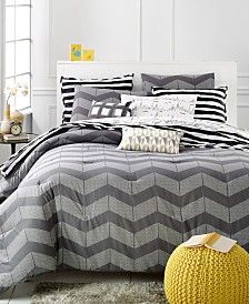 CLOSEOUT! Martha Stewart Whim Collection Grey Spot Chevron Bedding Collection, Only at Macy's