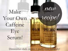 an easy caffeine eye serum recipe to diminish dark circles and puffy eyes. Oh, and it smells absolutely amazing!Here's an easy caffeine eye serum recipe to diminish dark circles and puffy eyes. Oh, and it smells absolutely amazing! Coffee Essential Oil, Vanilla Essential Oil, Essential Oils, Bb Beauty, Beauty Skin, Tired Eyes, Puffy Eyes, Eye Serum, Homemade Beauty Products