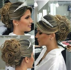 Best Wedding Hairstyles Updo With Tiara Ideas Wedding Hair And Makeup, Wedding Updo, Bridal Hair, Wedding Hairstyles With Crown, Tiara Hairstyles, Romantic Hairstyles, Quinceanera Hairstyles, Braut Make-up, How To Make Hair