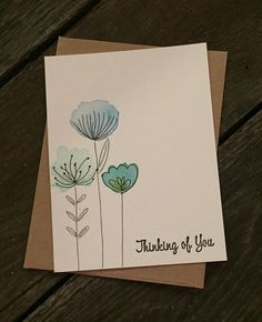Watercolor customized cards Birthday cards Just because Thinking of you is part of pencil-drawings - Item Overview Watercolor Birthday Cards, Watercolor Cards, Watercolor Flowers, Watercolor Journal, Watercolor Drawing, Handmade Birthday Cards, Card Birthday, Simple Birthday Cards, Diy Birthday