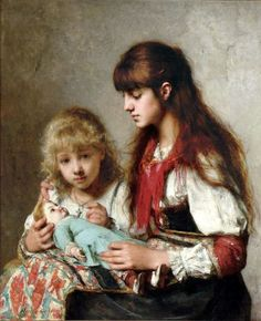 """""""Sisters"""" -- by Alexei Alexeivich Harlamoff (1842 – 1923, Russian)"""