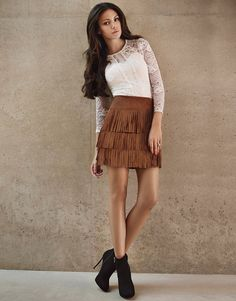 12a7bda2f1 Lipsy Love Michelle Keegan suedette mini skirt in tan. Featuring on trend  layered fringing.