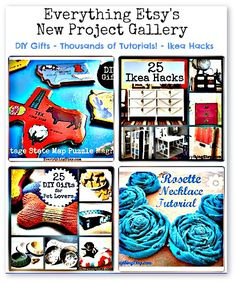 DIY Gifts - Tons of Tutorials - Ikea Hacks - Everything Etsy's New Project Gallery.i think i have found my craft buddy soul mate.love your site! looking forward to learning lots of stuff. Diy Arts And Crafts, Fun Crafts, Craft Gifts, Diy Gifts, Handmade Gifts, Diy Holiday Gifts, Etsy Business, General Crafts, Diy Projects To Try
