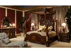 Merveilleux Michael Amini Victoria Palace Bedroom Set W/ Canopy Bed In Light Espresso  By AICO