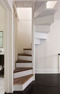 Escaleras Escaleras Modern Stairs - Lilly is Love Barn Homes Floor Plans, Metal Barn Homes, Pole Barn House Plans, Metal Building Homes, Pole Barn Homes, Loft Staircase, Staircase Design, Small Space Staircase, Stair Design