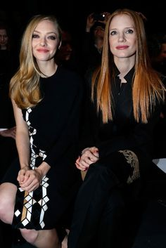Givenchy Front Row - Amanda Seyfried and Jessica Chastain Celebrity Gallery, Celebrity Look, Celeb Style, Prom Dress 2013, Oscar Dresses, Sleek Hairstyles, Jessica Chastain, Amanda Seyfried, Celebs