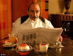 I have to admit my ideal sunday afternoon is spent watching Monsieur Hercule Poirot exercise his little grey cells. David Suchet is perfect in the role, from his immaculately clipped moustache to his starched white spats. Heaven!