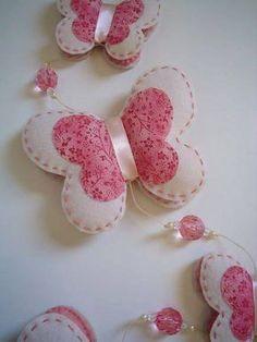 Borboletas em Feltro - moldes e passo a passo de lindas borboletas