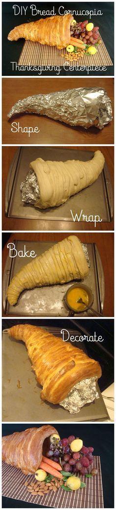 How To Make A Bread Cornucopia Thanksgiving Centerpiece | DIY Homemade Food For Holidays by Homemade Recipes at http://homemaderecipes.com