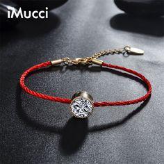 IMucci Marca Cristales Austriacos Pulseras Del Encanto para Las Mujeres Delgada Cadena De Hilo Rojo Cuerda de La Moda Pulsera de Los Brazaletes de La Joyería