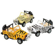 The Safari Print Jeep is a great birthday favor to send home with your birthday party guests. The jeep is sold in packages of 12.