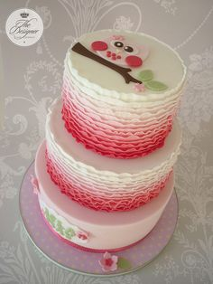 This is based on a design by my friend Jo at Torta Couture. Jo made a single tier of this cake so I asked her permission to turn it into a three tier. Pretty Cakes, Beautiful Cakes, Amazing Cakes, Ombre Cake, Fondant Cakes, Cupcake Cakes, Owl Cake Toppers, Owl Cakes, Ruffle Cake