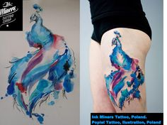 Watercolour Peacock Tattoo
