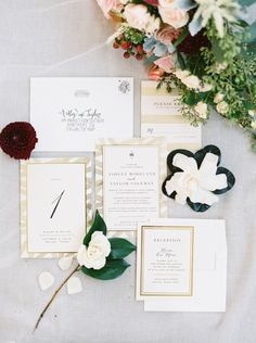 Gold invitation suites: http://www.stylemepretty.com/2016/04/21/gold-wedding-invitation-details/