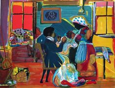 Romare  Bearden - Quilting Time