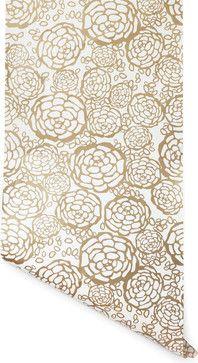 Petal Pusher Wallpaper, Gold - contemporary - Wallpaper - Hygge & West