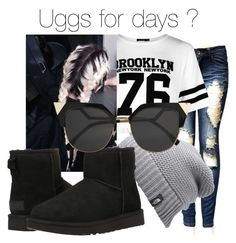 """Uggs"" by nerdypanda777 ❤ liked on Polyvore featuring Boohoo, The North Face, UGG Australia and Fendi"
