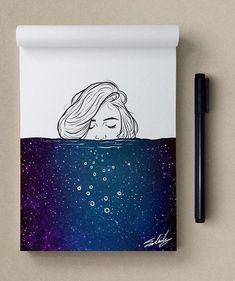 """""""Космос в моем скетчбуке"""" © Muhammed Salah"""