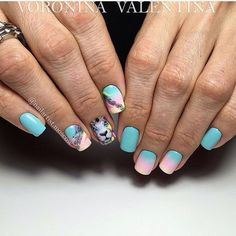 Accurate nails, Fashion nails 2017, Ideas of gradient nails, Luxurious nails, Luxury nails, Nails with animals, Obmre nails, Pink and blue nails