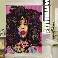 2017 New Different Custom Waterproof Bathroom African Woman Shower Curtain Polyester Fabric Afro