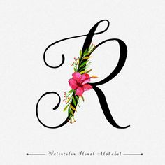 Letter r watercolor floral background Premium Vector r harfi Lettering Tutorial, Lettering Design, Hand Lettering, Alphabet Wallpaper, R Wallpaper, Calligraphy R, Letter R Tattoo, Watercolor Floral Wallpaper, Watercolor Font