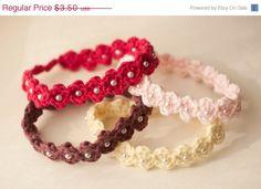 Crocheted Adjustable Beaded Baby Headband Pattern -- pdf. $1.50, via Etsy.