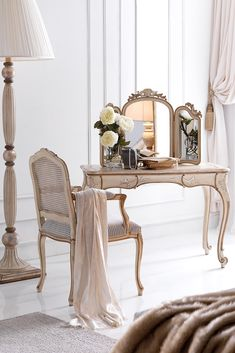 Truly adaptable in its versatility. Above all adding style and opulence. The Ornately Carved Italian Designer Small Dressing Table Set is the most stunning of additions to any bedroom setting. Also just as comfortable used as a console table or as the most elegant of small compact desks for any room in the house...