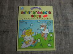 Hobnobbins Vintage Paint with Water Coloring Book 1990 Playskool Troll Dolls #Golden