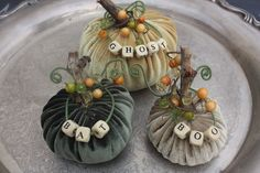 Rooted In Thyme: ~Velvet Alphabet Pumpkins~