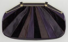 Judith Leiber Clutch Bag with Coin Purse - USA Mid 1980s  Leather, suede, snakeskin, silk satin, gold tone metal