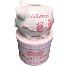 Personalized My First Piggy Bank with Decorated Gift Box  Pink *** Want to know more, click on the image.