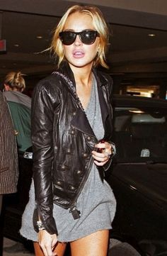 Black motorcycle jacket + grey shirt dress.