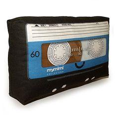 Mini Pillow Black Cassette Blue Label by mymimi on Etsy, $18.00