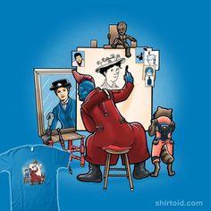 Triple baby sitter | Shirtoid #groot #guardiansofthegalaxy #marypoppins #normanrockwell #rocketraccoon #trheewood #tripleselfportrait #yonduudonta