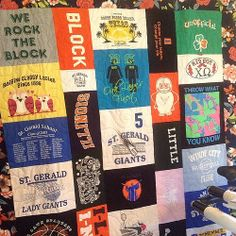 #tshirtquilt for Christmas , Since this was for a woman we did a floral border instead of solid.