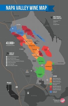 Napa Valley wine guide with an overview of the famous Californian AVA. Napa Valley wineries, grape varieties, Napa Valley map, climate and terroir. ** You can get additional details at the image link. Napa Valley Map, Napa Valley Wineries, Napa Winery, Virginia Wineries, Wine Folly, Wine Education, Wine Guide, California Wine, California Trip