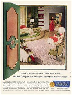 Gold Seal Floor Ad, 1957 Chic Master Bedroom, Shabby Bedroom, Bedroom Vintage, Vintage Home Decor, 1950s Bedroom, Master Bedrooms, Home Decor Bedding, Home Decor Wall Art, Apartment Wall Art