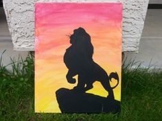 Lion King Silhouette Canvas Painting by JennyMarieArtistry on Etsy, $13.00